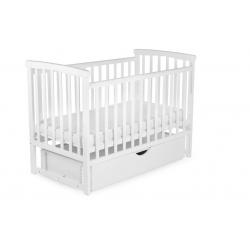 Ліжко дитяче DeSon Bimbi з опускною боковиною та шухлядою (MRIYA), біле