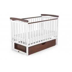 Ліжко дитяче DeSon Bimbi color з опускною боковиною та шухлядою (MRIYA combi), біле-горіх