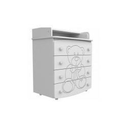 Комод пеленатор 900 білий ДСП+МДФ декор ведмедик