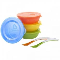 Набір посуду: миски з кришками 4 шт., ложки 2 шт.,
